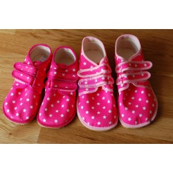 Beda barefoot světle růžové s hvězdami vycházkové tenisky jiný barevný lem