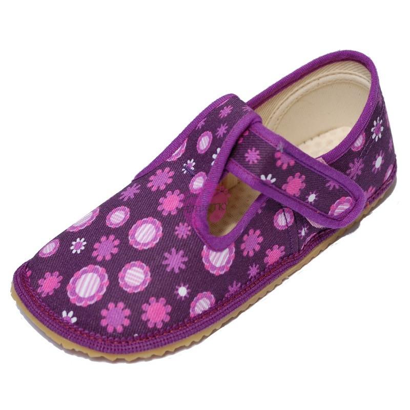 Beda barefoot papučky Fialová kytky