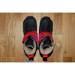 ZeaZoo YETI Black with red in waterproof leather, sheepskin