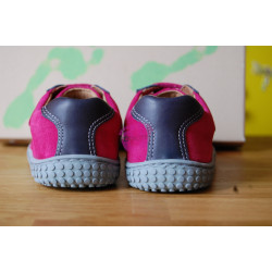 Filii Barefoot LEGUAN velcro nappa/velours ocean/pink M