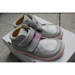 Baby Bare Shoes Febo FALL Grey/Pink 2021 velour +membrána